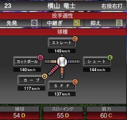 【プロスピA】2020Series1:横山竜士選手のステータス&評価