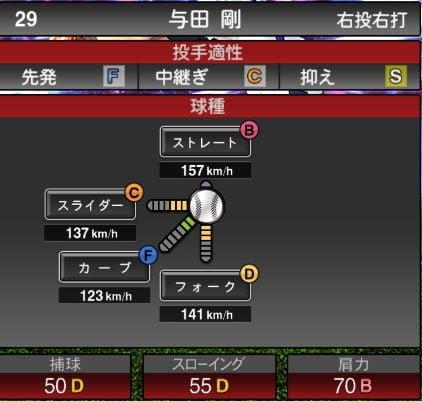 【プロスピA】2020Series1:与田剛選手のステータス&評価