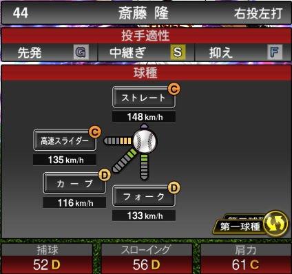 【プロスピA】2020Series1:斎藤隆選手のステータス&評価