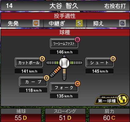 【プロスピA】2020Series1:大谷智久選手のステータス&評価